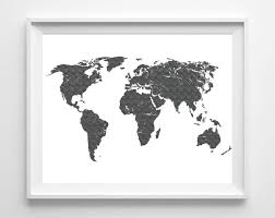 Artistic World Map by World Map Print Printable Black White Wall Art 11x14