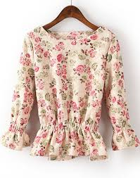 floral blouse beige sleeve ruffle floral blouse s kr 167 62 sheinside