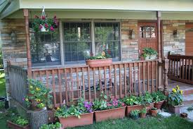 Porch Rail Flower Boxes by Front Porch Chic Flowers Pots Design With Brown Fabrics Pots On