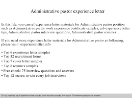Pastoral Resume Samples by Administrativepastorexperienceletter 140831114827 Phpapp01 Thumbnail 4 Jpg Cb U003d1409485730