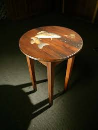 Wood Round End Table Reclaimed Wood Round End Table With Brown Trout Design Lake And