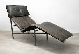 ik a chaise brown leather chaise lounge by tord björklund for ikea 1980s