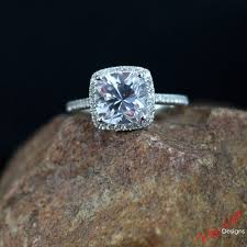 Halo Cushion Engagement Rings White Sapphire Cushion Cut Halo Engagement Ring Cathedral 3ct