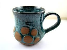 pottery mug with river rock design m003 made to order