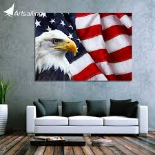 american flag home decor 1 piece canvas art canvas painting american flag bald eagle hd print
