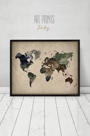 World Map Art Print by 95 Best Watercolor Maps Images On Pinterest Map Posters