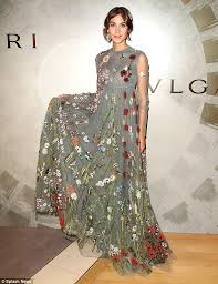 alexa chung in floral embroidered gown at bulgari launch in new