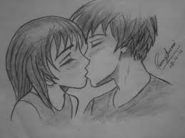 pencil sketch of kissing couple desipainters com