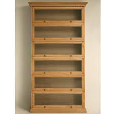 Bookcase With Glass Door Furniture Oak Barrister Bookcase Featuring Glass Doors 6 Shelves