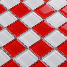 glass mosaic tile sheets kitchen backsplash cheap 3031 red and white
