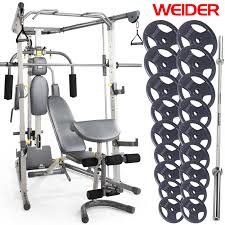 Weight Bench Package New Weider Smith Machine Home Gym Package With 140kg Weight Set