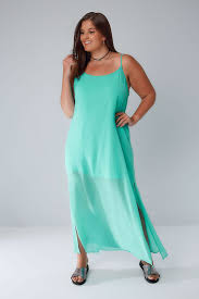 Limited Collection Green Strappy Maxi Dress With Side Slits Plus
