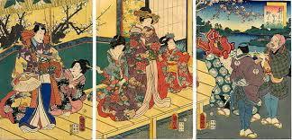 utagawa kuniaki colour spring lion dance mansion