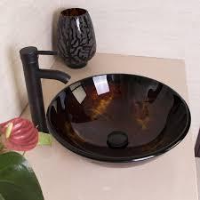 Artistic Bathroom Appearance Walcut Bathroom Modern Round Artistic Glass Vessel Sink Amazon Com