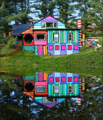 whimsical rainbow house that sweaters built