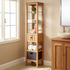 teak cabinets linen cabinets storage signature hardware bathroom
