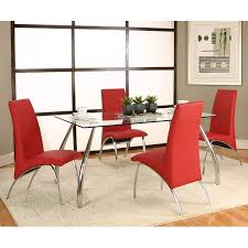 chrome dining room sets mensa chrome dining room set w red chairs cramco furniturepick