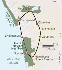 Namibia Map Namibia Expedition Itinerary U0026 Map Wilderness Travel