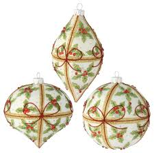 white glass ornaments with design set of 3