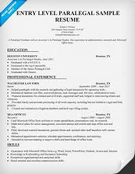 Beginner Resume Templates Entry Level Paralegal Resume Sample Resumecompanion Com Law
