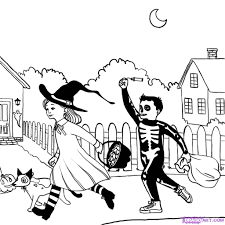 how to draw a halloween scene step by step halloween seasonal