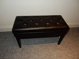 adjustable duet piano stool with storage high gloss black with
