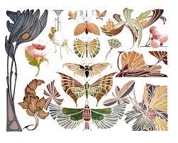 vintage nouveau butterflies and flowers clip the