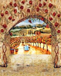 Kitchen Tile Murals Tile Art Backsplashes Tile Art Italian Tiles Of Vineyard Roses Backsplash Tiles