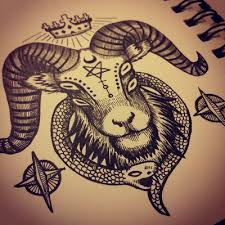 tattoo pen goats the 7th king goat ram king demon eyes crown snake serpent
