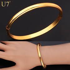 silver gold bracelet bangle images U7 simple style bangle fashion jewelry wholesale men women gift jpg