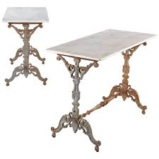 antique marble bistro table pair of spanish rococo iron base bistro tables with marble tops