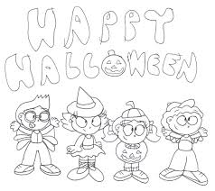 halloween happy monster printabel coloring pages archives