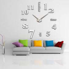 anself modern diy wall clock large watch decor stickers set mirror