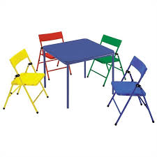 fold up children s table 5 piece kids metal folding table set 14325ryb
