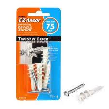 Bookcase With Lock E Z Ancor Twist N Lock 75 Lb Medium Duty Drywall Anchors 50 Pack