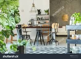 dining room cart modern dining room monstera plant carpet stock photo 594920912