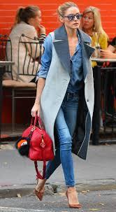 Olivia Palermo Home Decor by Olivia Palermo Styles Her Denim On Denim With Sleeveless Coat