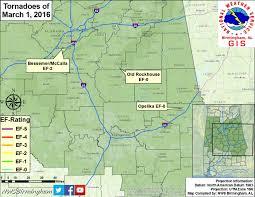 Birmingham Al Zip Code Map by Severe Weather Of March 1 2016