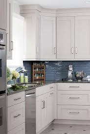 Blue Glass Kitchen Backsplash White Kitchen Cabinets With Blue Glass Tile Backsplash