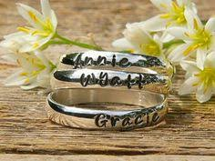mothers rings stackable engraved sted stacking rings in sterling silver one ring kids s