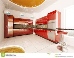 Modern Kitchen Interior Interior Design Of Modern Kitchen 3d Render Stock Photo Image