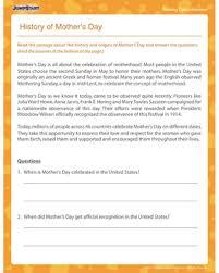 history of mother u0027s day u2013 4th grade reading worksheet mother u0027s