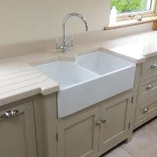 Fireclay Ceramic White Double Bowl Belfast Kitchen Sink  Waste - Belfast kitchen sinks