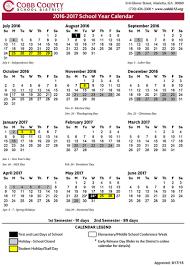 cobb county schools 2016 17 calendar