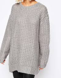 oversized chunky knit sweater lyst cheap monday chunky oversize knit jumper in gray