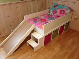 Platform Bed With Drawers Building Plans by Diy Toddler Bed With Slide And Toy Storage Diy Toddler Bed With