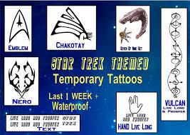 fancy dress star trek themed temporary tattoos x4 waterproof last1