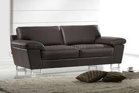 Living Rooms With Dark Brown Leather Furniture Dark Brown Leather Modern Sofa U0026 Loveseat Set W Metal Legs
