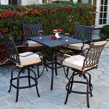 Concrete Patio Table Set by Outdoor Beautiful Backyard With Large Green Court And Plants