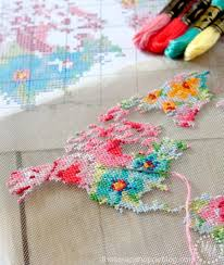 World Map Tablecloth by Make A Framed Floral Cross Stitch Map On New Stitchable Mesh From